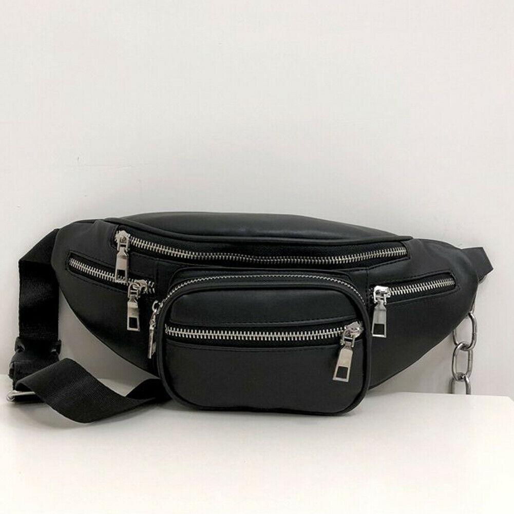 New Men's And Women's Universal Fanny Pack Fashion PU Leather Black Travel Chest Bag Pochete Waist Bag