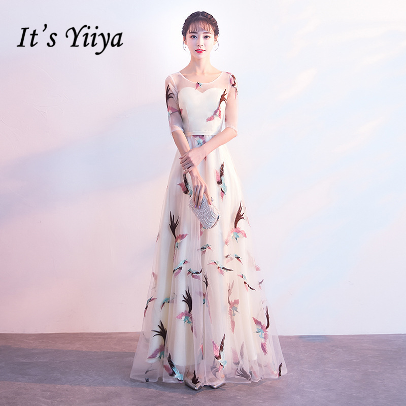 It's YiiYa Evening Dress Embroidery Flowers Lace Floor-Length Formal Dresses O-neck Half Sleeve Ziiper Illusion Party Gown E421