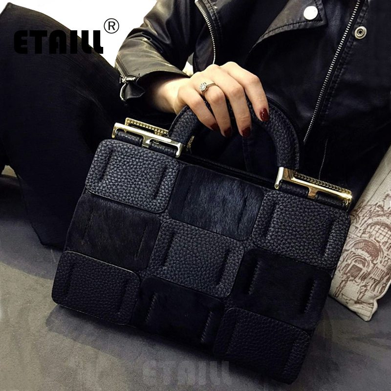 2018 Autumn Winter High Quality Horse Hair Leather Black Famous Designer Brand Bags Women Handbags Crossbody