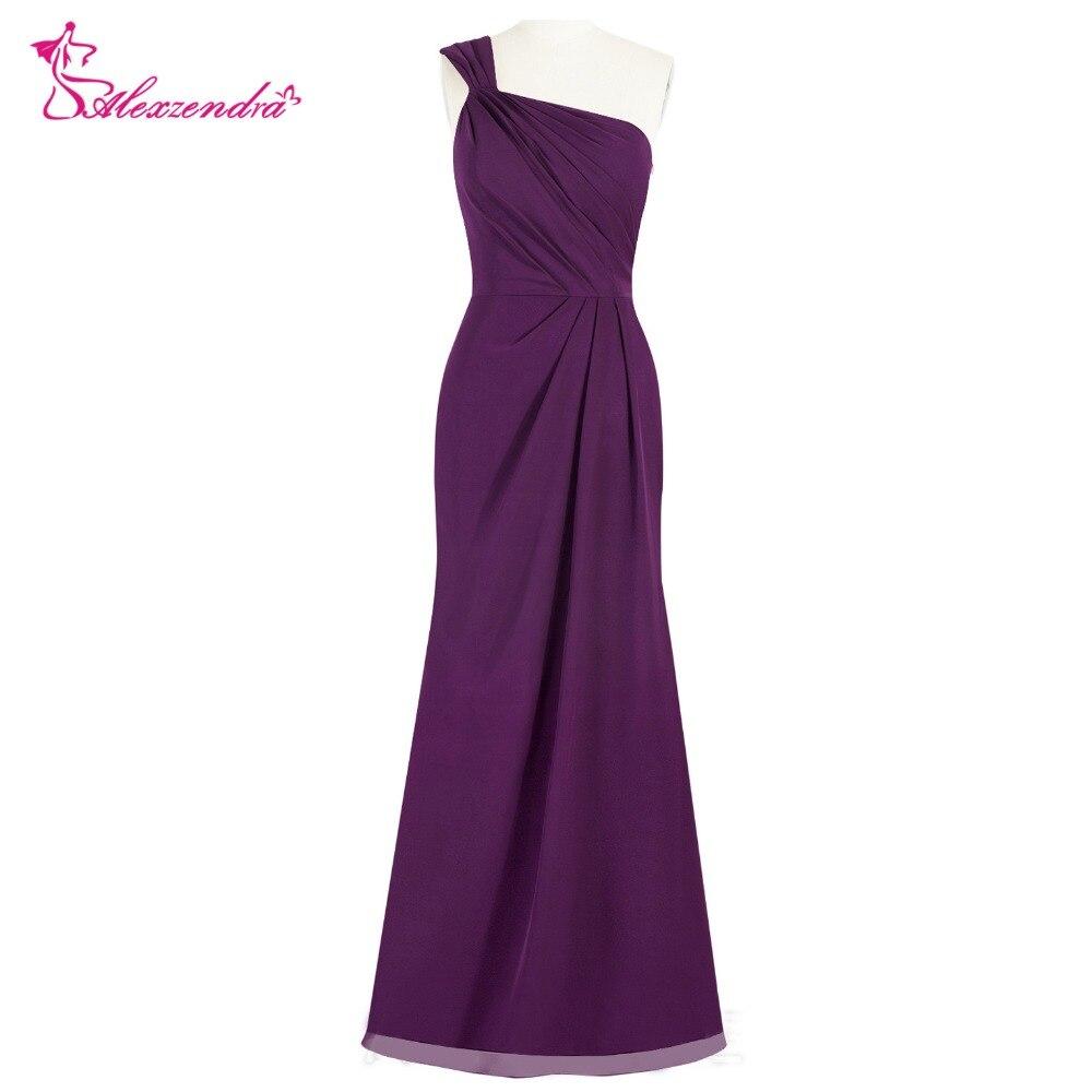 Alexzendra Chiffon One Shoulder Purple Long Bridesmaid Dresses for Wedding One Shoulder Party Gown