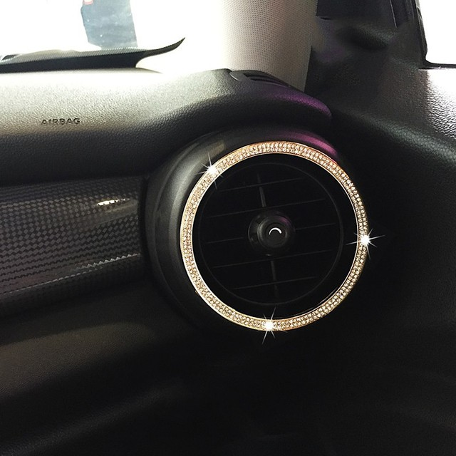 US $14 99 |2pcs Crystal Car Styling Air Conditioning Vent Outlet Ring Cover  Sticker Diamond Decorative For Mini Cooper One F55 F56 JCW-in Car Stickers