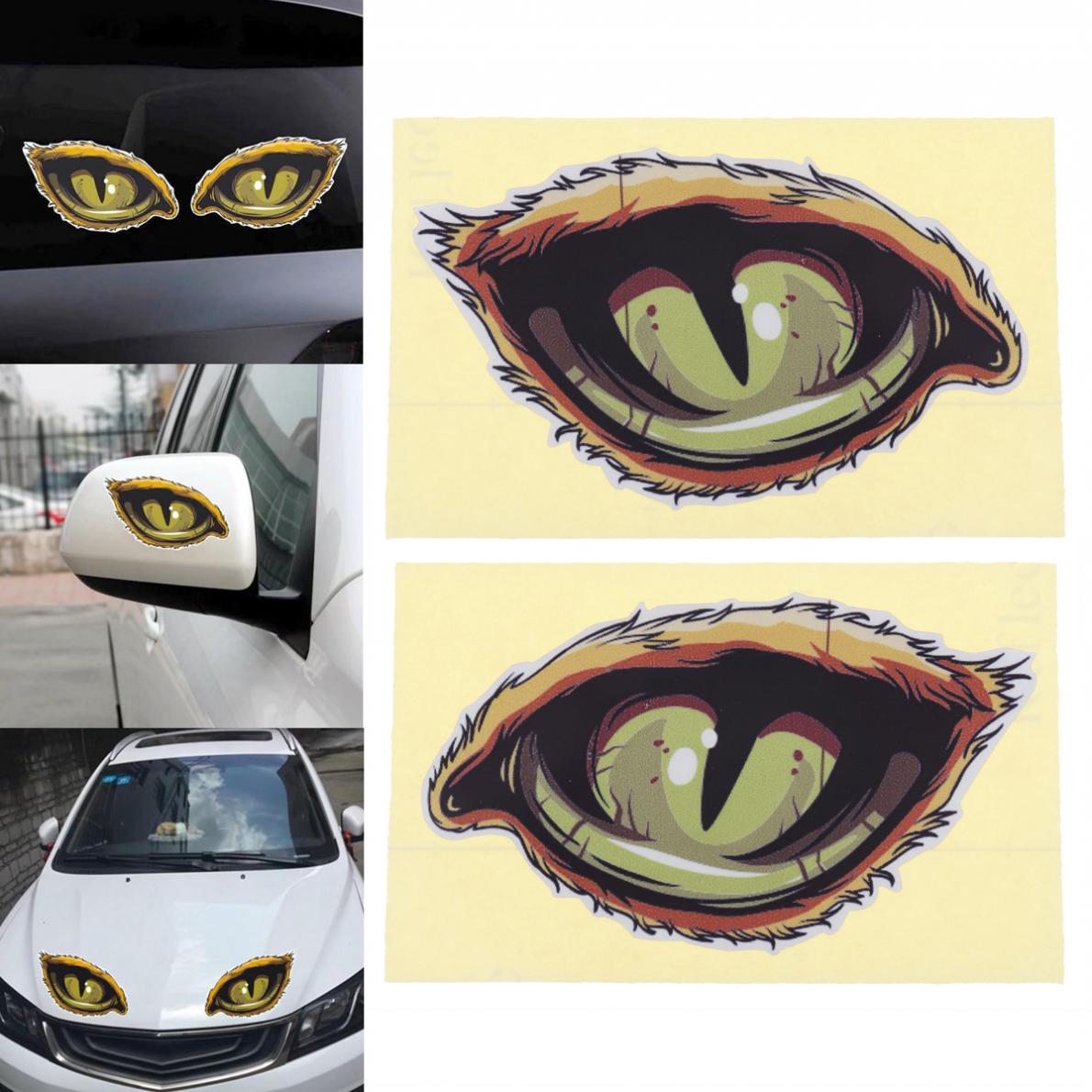 2pcs 12 x 7CM Waterproof 3D Eye Pattern Reflective Material Creative Funny Stereoscopic Car Sticker Accessories