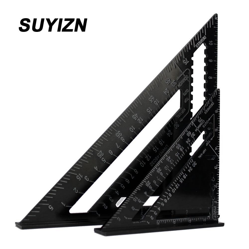 2Pcs 7 Inch and 12Inch Speed Squar Black Aluminum Alloy Quick Premium Read Rafter Speedlite Layout
