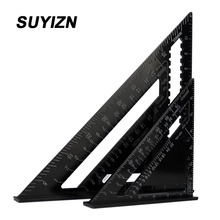 2Pcs 7 Inch and 12Inch Speed Squar Black Aluminum Alloy Quick Premium Read Rafter Speedlite Layout Tool Triangle Angle S0101