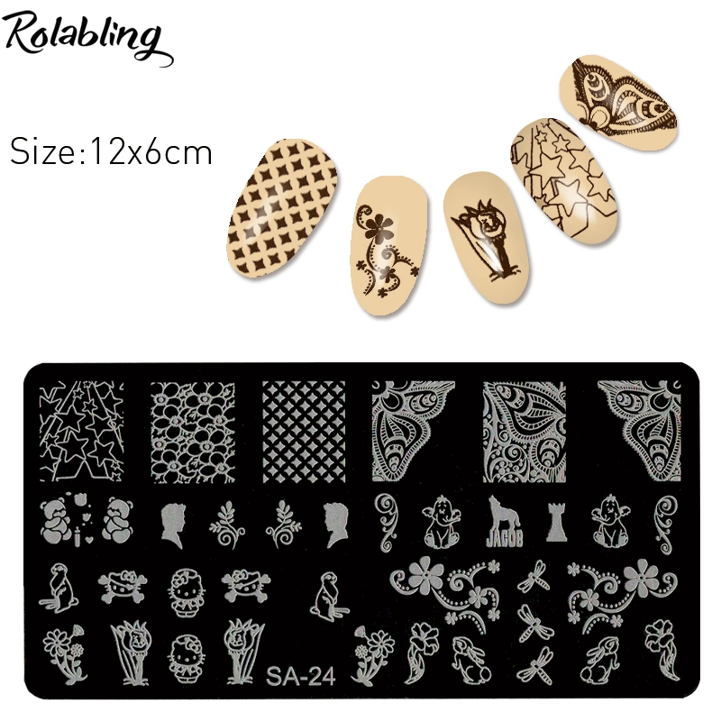 ᐅRolabling New One Piece Fashion Nail Art Templates Nail Art Stamp ...