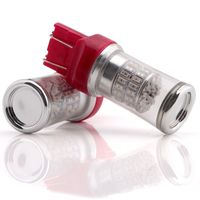 2x T20 7443 LED 48SMD 3014 Chips Flashing Strobe Rear Alert Safety Brake Stop Light Red