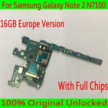 Бесплатная доставка Для samsung Galaxy Note 2 N7100 материнская плата, 16 ГБ для Note 2 N7100 плата с полной чипов, 100% оригинал разблокирована