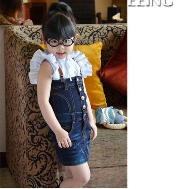 Venta de verano estilo moda niñas bebés niños trajes vestidos chica Tirantes vestido de mezclilla vestido de alta calidad