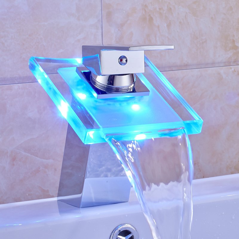 Chrome Finish LED Light Waterfall Spout Bathroom Sink Faucet Single Handle Mixer Tap