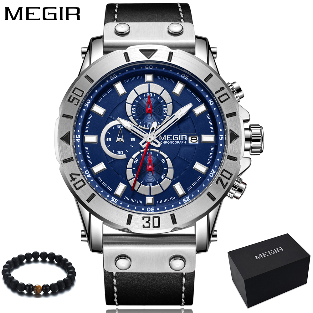 цена на MEGIR Luxury Brand 2018 New Fashion Blue Dial Quartz Watch Men Leather Band Waterporoof Sport Watches Wrist Clock relojes hombre