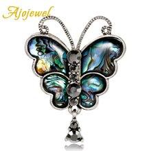 Ajojewel, высокое качество, морская раковина, двойная бабочка, брошь, стразы, насекомое, для женщин, Винтажные Ювелирные изделия, подарки, Bijoux Femme