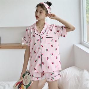 Image 4 - Sleep Lounge Women Pajamas Set with Shorts Cotton Sleepwear Short Sleeve Spring Summer Pyjama Flower Print Pijama Nightsuits