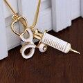 Trendy Estetoscopio Médico Jeringa Aguja de Metal Pendiente de la Aleación Colgante de Collar de Cadena de La Serpiente Para Las Mujeres Enfermeras Regalos de Joyas