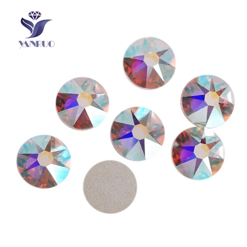 YANRUO 2088NoHF 16 coupe cristal AB SS16 SS20 SS30 Non Hot fix strass rond plat dos strass pierres pour vêtements de décoration