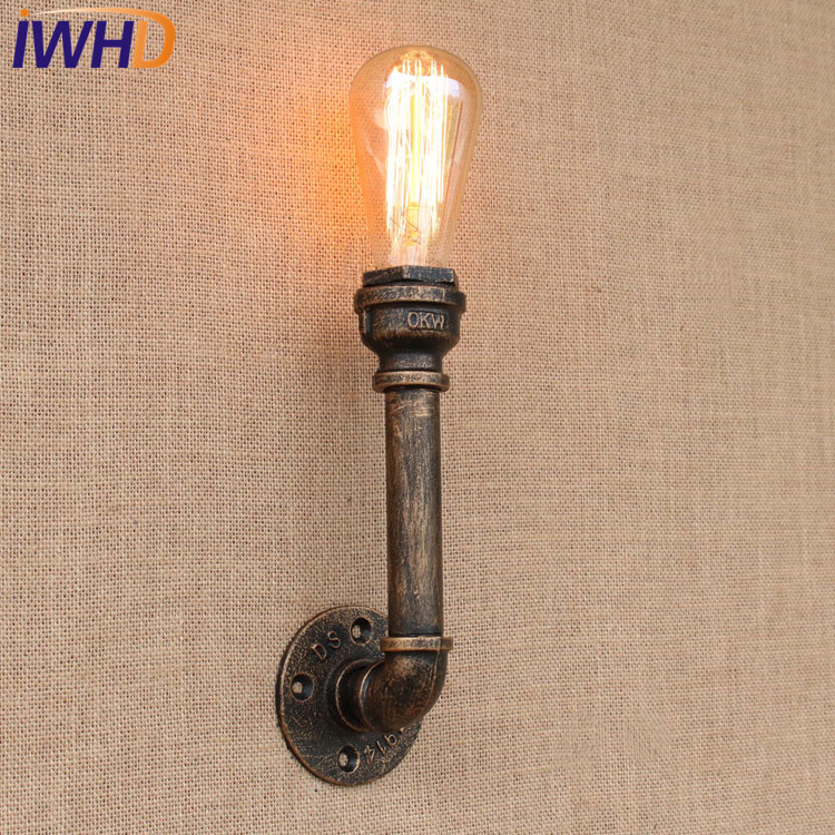 Loft Retro Vintage Industrial Water Pipe Wall Lamp White Edison Bulb E27 Light For Cafe Hallway Bedroom Lamparas Luminaire|water pipe wall lamp|industrial water pipe|wall lamp white - title=