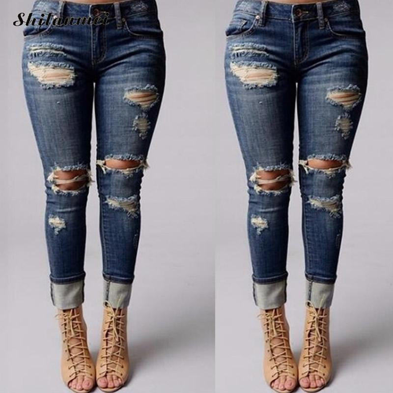Plus Size 2XL Jeans Woman New Spring High Waist Stretch Ripped Jeans For Women Hole Pants Summer Denim Trousers Female short