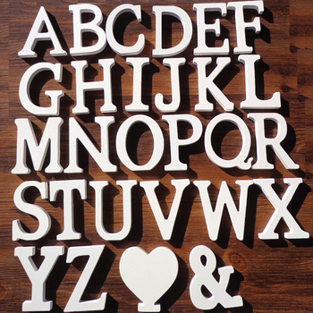 1pc White Wooden Letters English Alphabet Word Personalised Name Design Art Craft Free Standing Heart Shape Wedding Home Decor 1