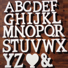 1pc white wooden letters english alphabet word personalised name design art craft free standing heart shape