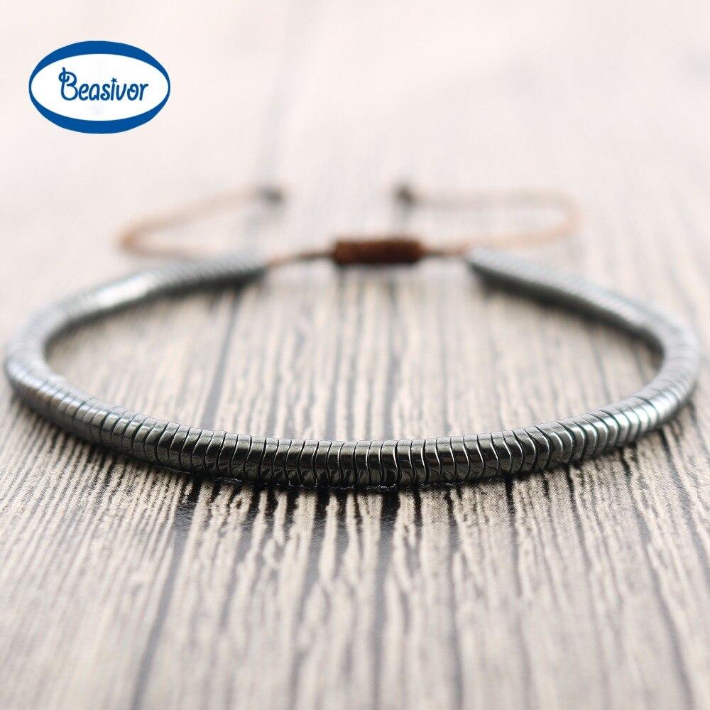 Men's Warp Bracelet With Faceted Hematite Beads Handmade Friendship Bangles Beaded Jewelry