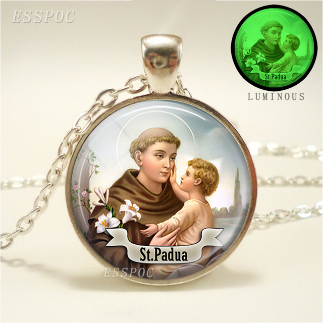 St anthony of padua pendant religious saint necklace luminous st anthony of padua pendant religious saint necklace luminous religious jewerly lucky charm grow in the aloadofball Images