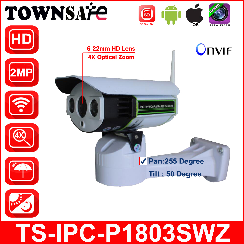 TOWNSAFE new SP-P1803SWZ Full HD 1080P Wireless Wifi PTZ Bullet IP Camera IP66 Pan/Tilt 4X Optical Zoom ONVIF SD Card Slot P2P indoor wireless ptz dome ip camera full hd 1080p 2 0mp with pan tilt zoom 2 8 12mm 4x zoom tf micro sd card slot low lux onvif