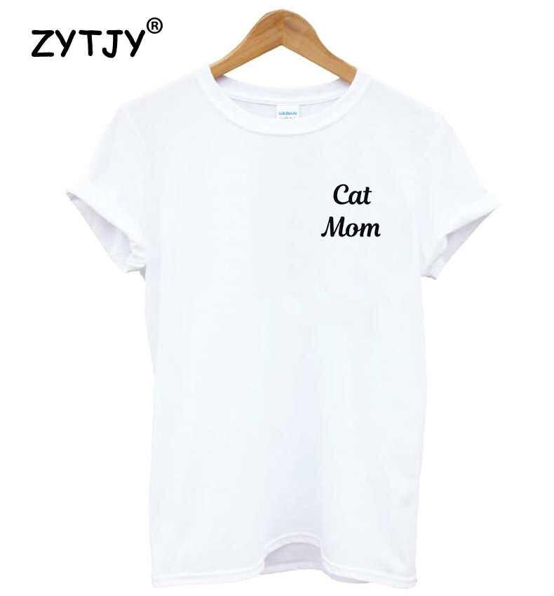 Camiseta divertida del algodón de las mujeres de la impresión de las letras del bolsillo de la mamá del gato para la señora chica Top Tee Hipster Tumblr Drop Ship HH-192