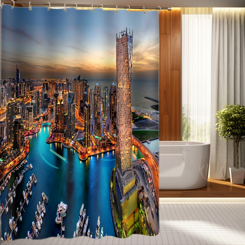 Skyscraper Shower Curtains Mediterranean Sea View Pattern Bathroom Curtain Waterproof Thickened Bath Curtain Customizable