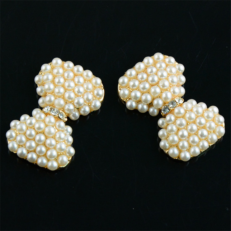 50pcs lot 30mm Gold Rhinestone Pearl Button Bowknot Style DIY Craft  Embellishments Bridal Wedding Accessories PJ16-in Hair Accessories from  Mother   Kids on ... 00acd13294ee