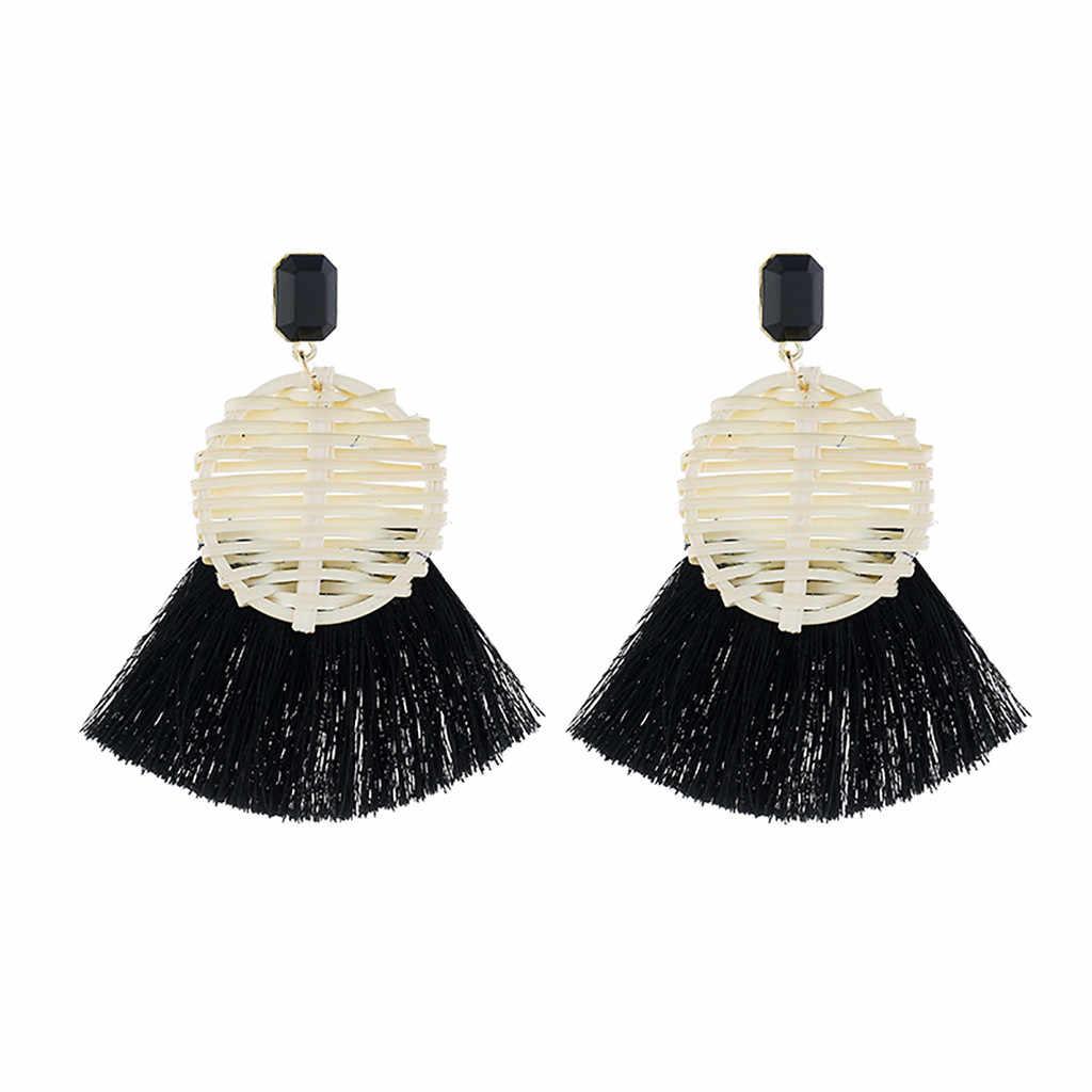 Fashion Bohemian Tassel Vintage Verklaring Drop Oorbellen voor Vrouwen Zwart Rood Geel Grote Dangle Fringe Oorbellen 2019 Sieraden