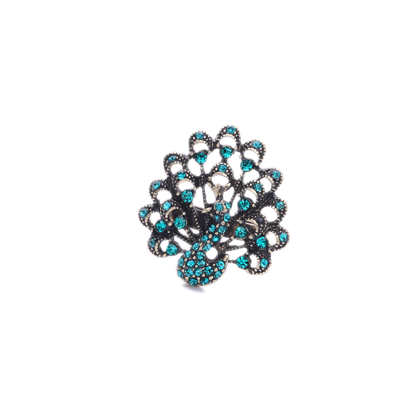 Vintage Style Antique Gold Color Zircon Peacock Ring Blue Champagne 2 Colors Gorgeous Accessory