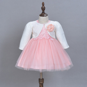 2018 Formal Baby Dress For 1 Year Old Birthday Pink Flowers Party Vestido and Jacket Baby Toddler Clothing ABF164717 conjuntos casuales para niñas