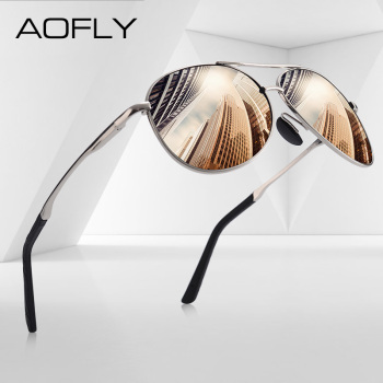 AOFLY DESIGN Men Classic Pilot Sunglasses Polarized Aviation Frame fashion Sun glasses For Male Driving UV400 Protection AF8208 yellow lens matel frame men polarized sunglasses uv400 driving glasses for men 4 colors with box