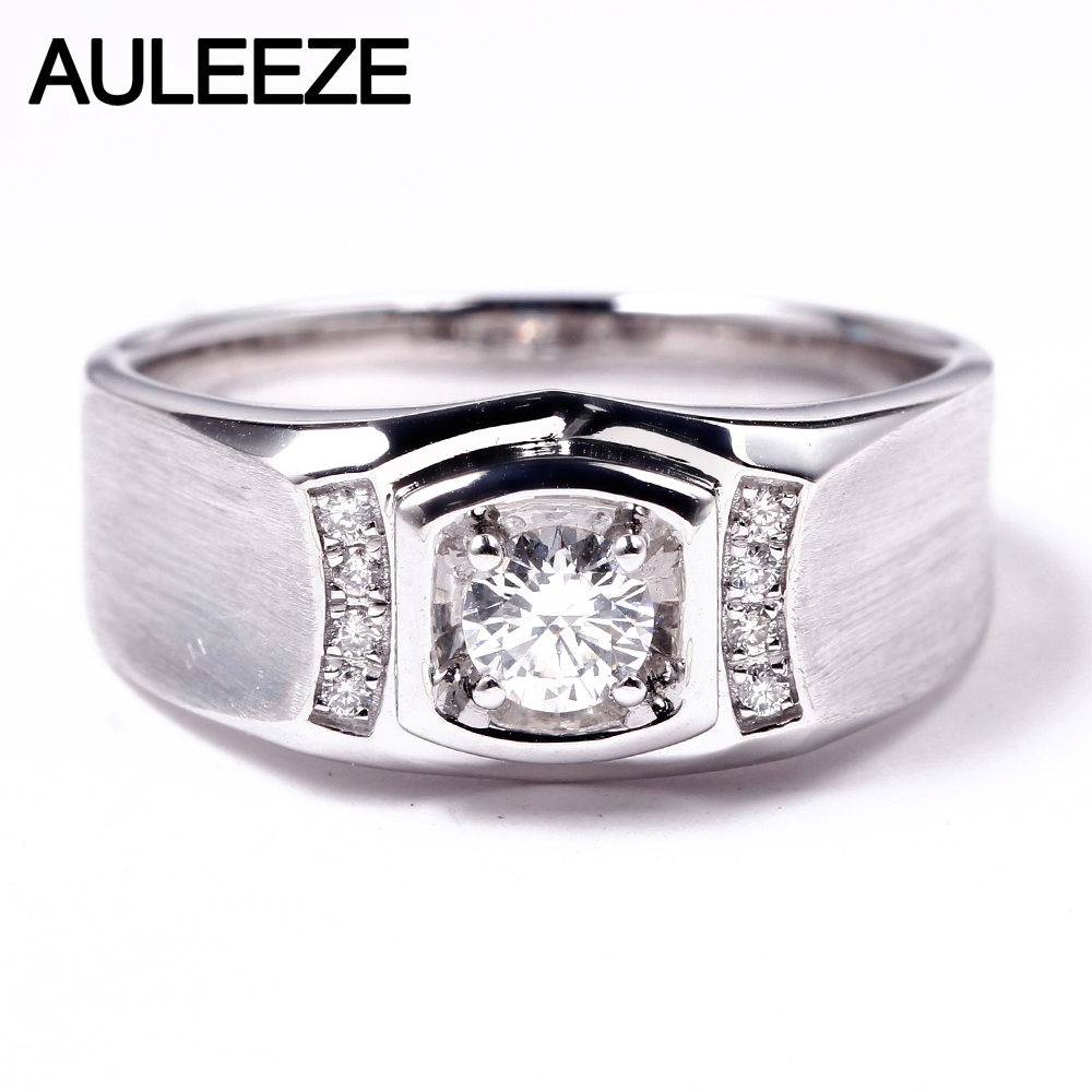 AULEEZE Luxury 0.3ct Natural Diamond 18K White Gold Engagement Ring For Men Real Diamond Wedding Bands Jewelry Christmas Gift hot sale couples wedding bands lock and key love solid 18k white gold diamond engagement ring wu141