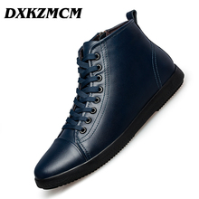DXKZMCM Genuine Leather Men Boots Autumn Winter Ankle Boots Fashion Footwear Lace Up Shoes Men Shoes
