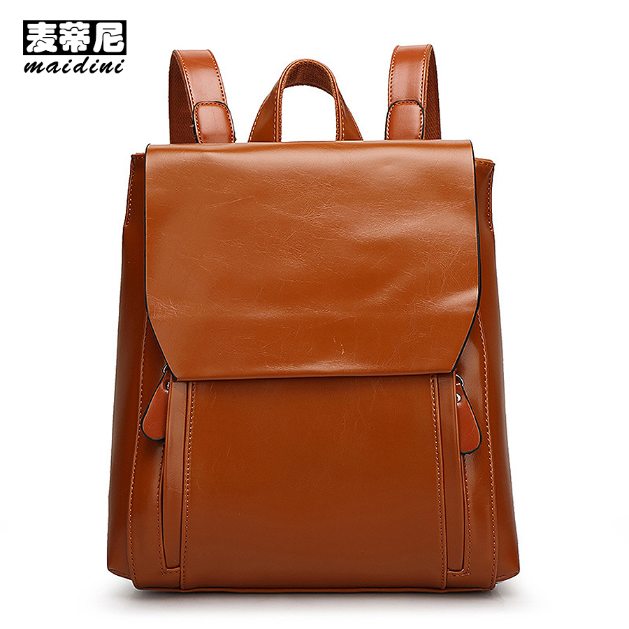 MAIDINI Genuine Leather Backpack Women 2017 Quality Vintage Girls School Backpack Bags For Teenage Casual Female