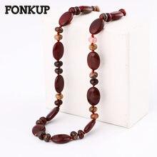 f892062543df Fonkup jaspe rojo collar de piedras preciosas mujeres adornos cadena empate  joyería exquisita Piedra Natural gota