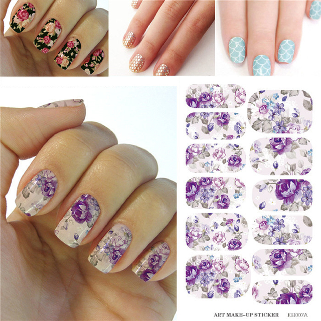 Water Transfer Nails Art Sticker Full Cover Manicure Acrylic Nail ...