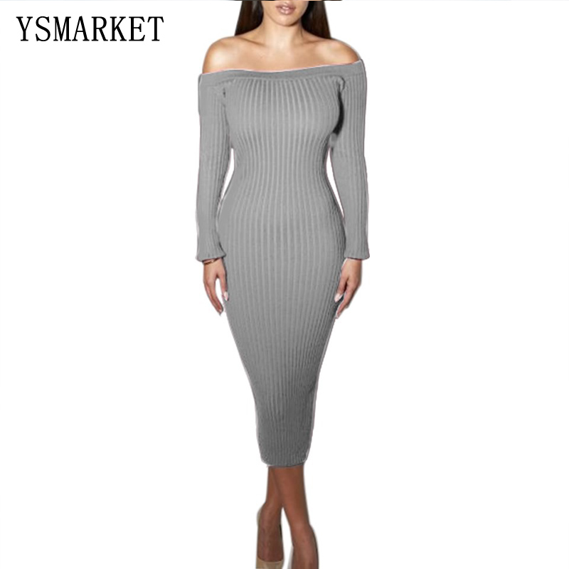 Fashion Long Sleeve Off Shoulder Slash Neck Sexy Club Women Dress Slim Bodycon Knitted Sweater Party Night Midi Dresses E7386 sweet off the shoulder long sleeve bodycon sweater dress for women