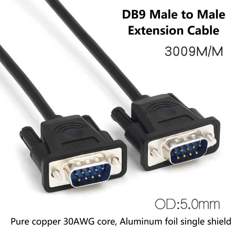 small resolution of db9 male to male extension cable pure copper line rs232 9 pin serial connector wire com core with aluminum foil shield in vga cables from consumer