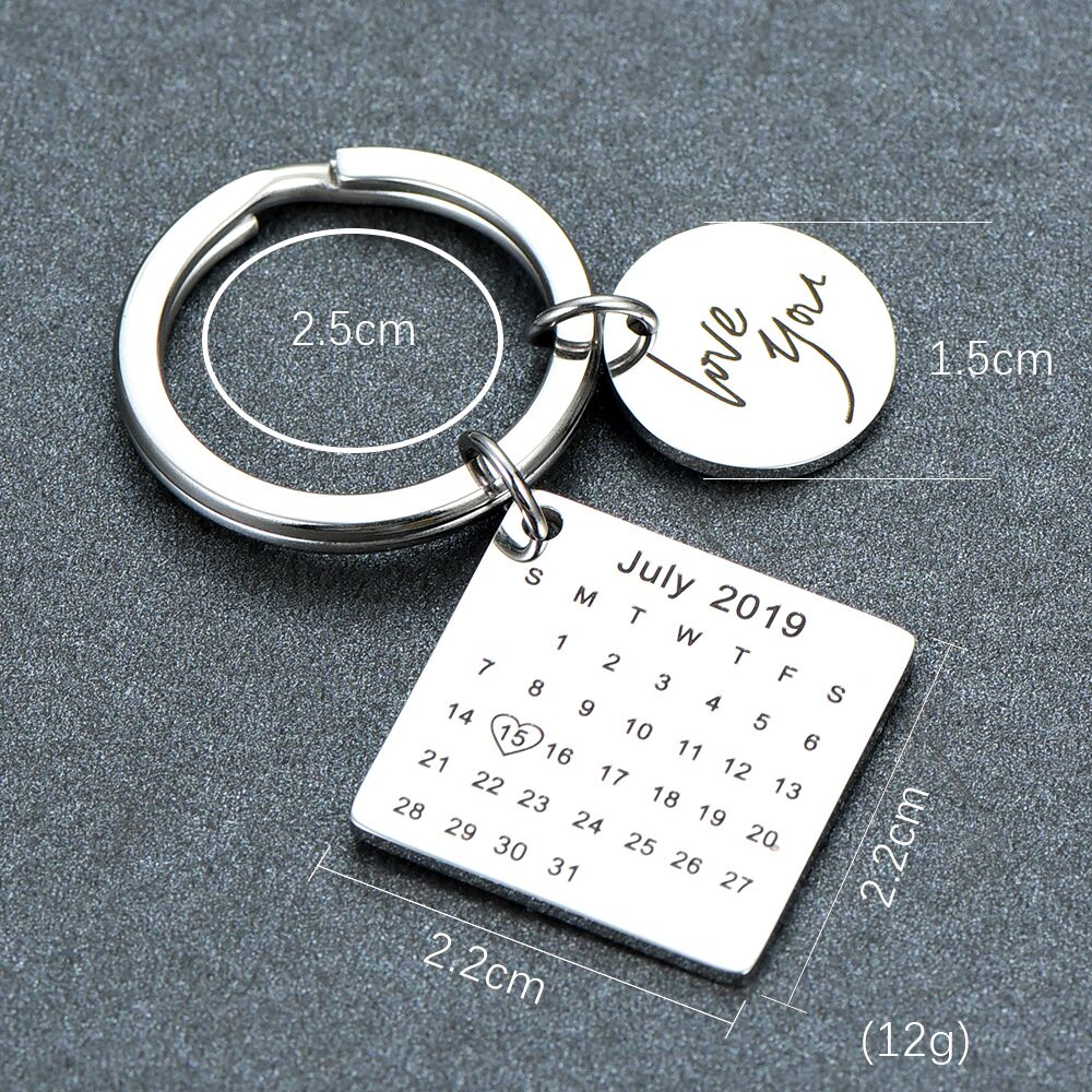 Stainless Steel Keychain Personalized Calendar Keychain Hand Carved Calendar Highlighted with Heart Date Keyring Private Custom