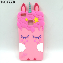 3D Fashion Cartoon Pink Unicorn Soft Silicone Case For Huawei P8 Lite 2017 P9 P10 P20 Back Phone Cover Capa
