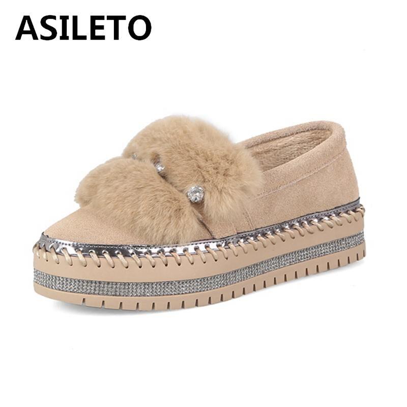 ASILETO العلامة التجارية كريستال ريال الفراء النساء أحذية الخريف الشتاء البقر المدبوغ جلدية حذاء مسطح عالية الجودة عارضة النساء حذاء مسطح Cryst-في أحذية نسائية مسطحة من أحذية على  مجموعة 1