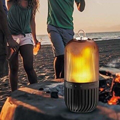 lampada de chama led portatil alto falantes luz