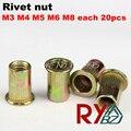 M3 M4 M5 M6 M8 100 unids Rivet Nut/Tuerca de Acero Al Carbono Cabeza Plana Ciegos Insertar/cabeza Plana rivet nut CSFH001