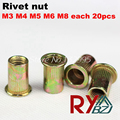 M3 M4 M5 M6 M8  100pcs  Rivet Nut/Carbon Steel Flat Head Blind Insert Nut/ Flat head rivet nut CSFH001