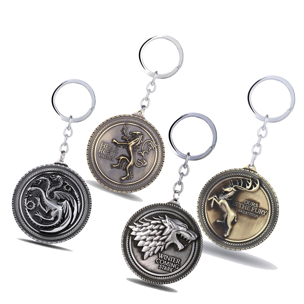 Game of Throne Key Chain Pesem ledu in ognja Obesek za ključe Chaveiro Car Keychain Stark Targaryen nakit