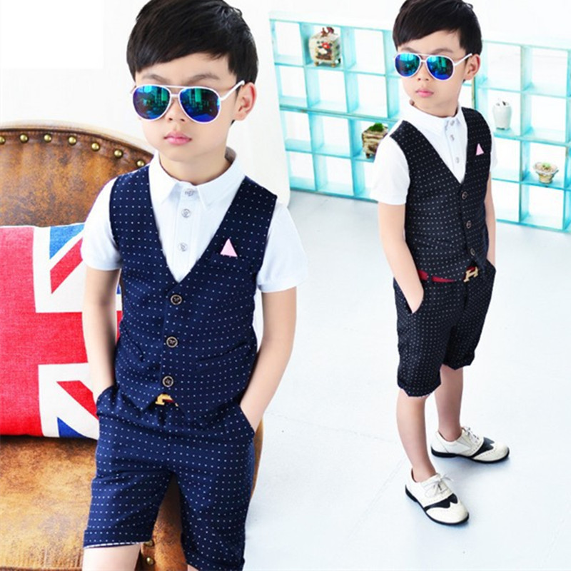 Fashion Boys Gentleman Party Wedding Clothes Summer Top+Shorts Kids Suit Sets Clothes Boy's Children Clothing Birthday Dress