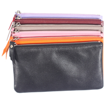 2016 new men and women models sheepskin leather wallet women 's long wallet mobile phone packages purse thin soft