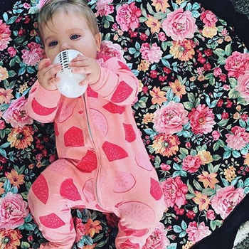 2020 Autumn Winter Baby Rompers Flower Printing Newborn Baby Girl Long Sleeve Zip Romper Toddler One Pieces Jumpsuit  MBR0184 1
