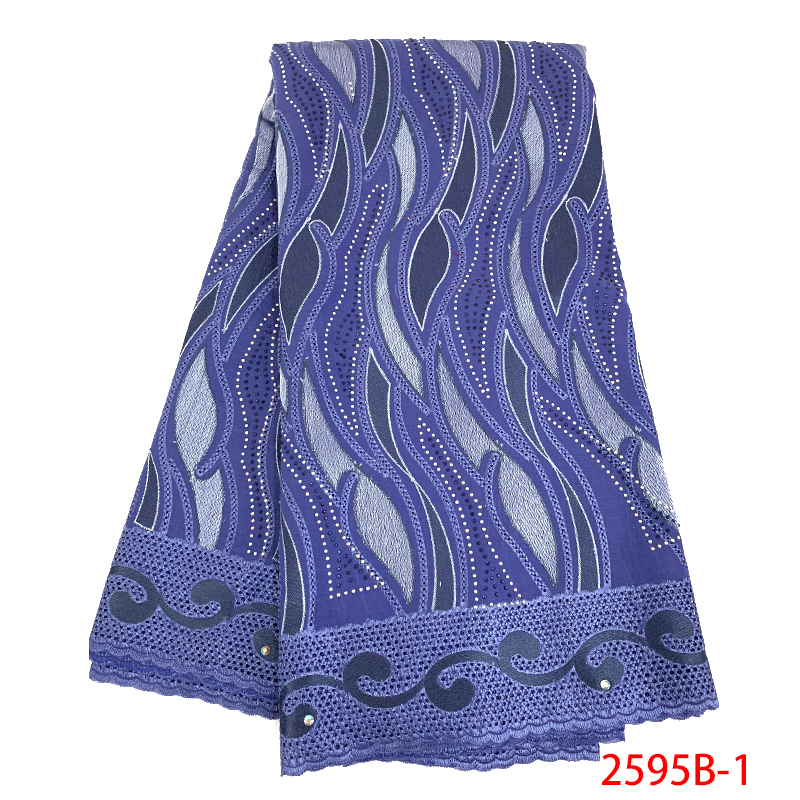 2019 Swiss Voile Lace In Switzerland High Quality Cotton Lace Fabric African Lace Fabric With Stones For Women KS2595B-1